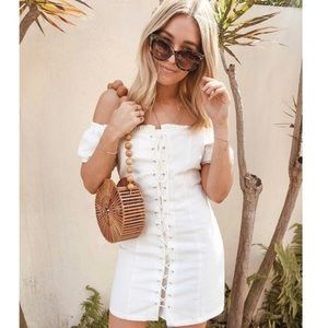🆕White Lace Up Bodycon Dress